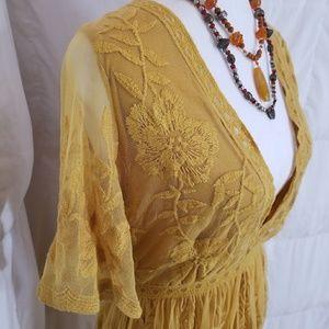 Sexy Mustard V Neck Sheer Lace Kimono Maxi Romper